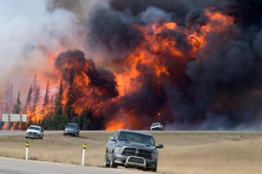 A wildfire burns in Alberta, Canada.