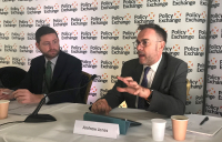 AECOM's cities programme leader for Europe Andrew Jones (right) speaking alongside shadow secretary of state for transport Jim McMahon MP.