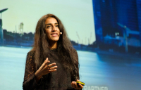 Ayesha Khanna, co-founder and CEO of ADDO AI, speaking at the Bentley Year in Infrastructure conference in Singapore.
