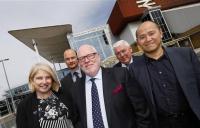 Birmingham International Station. Professional services team. l-r; Carol Stitchman (WSP), Darren Baker (Faithful+Gould), Jonathan Bretherton (Urban Growth Company), Chris Prescott (JLL) and Bosco Lam (WilkinsonEyre).