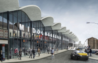 An artist's impression of how the proposed new Middlesbrough station might look.