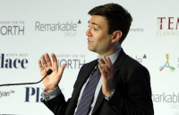 Greater Manchester mayor Andy Burnham speaking at the recent Northern Transport Summit.