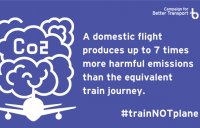 Campaign for Better Transport calls on government to ban domestic flights and make trains cheaper to help tackle climate change.