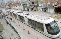 A tram operated by Metro de Medellin on the 4.3 km-long line which connects two of the city's metro lines and two new metrocable lines.