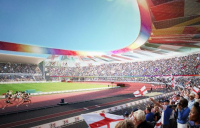 An artist's impression of the remodeled Alexander Stadium in Birmingham.