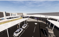 CGI of planned new transport infrastructure at Edinburgh Airport's east terminus.