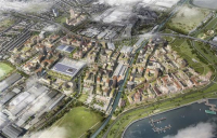 CGI of Enfield's Meridian Water masterplan, looking north.