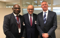 FIDIC CEO Dr Nelson Ogunshakin (left) and president Alain Bentéjac pictured with World Bank chief procurement officer, Enzo De Laurentiis (right).