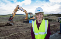 Scottish first minister Nicola Sturgeon at the start of work on the Aberdeen bypass.