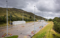 The road/rail transfer point at Glen Douglas in Argyll and Bute, Scotland.