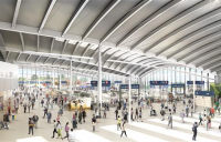 HS2 Old Oak Common station, ground floor concourse view. (CGI).