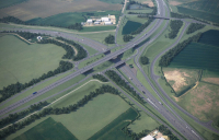 Ariel view of the A428 Black Cat to Caxton Gibbet.