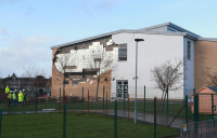 The exterior wall at Oxgangs Primary School in Edinburgh, part of which collapsed in 2016.