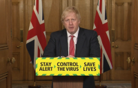 Prime minister Boris Johnson announcing the easing of some coronavirus lockdown measures on 11 May 2020.