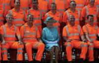 HM The Queen at Reading station opening, Bill Henry is on her right.