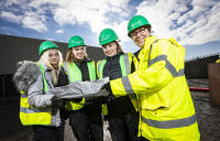 Young women from across Central Scotland participating in the Women into Construction programme, facilitated by GRAHAM.