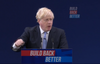 Prime minister Boris Johnson delivering his speech at the end of the Conservative Party conference in Manchester.