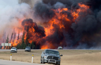 A wildfire burns in Alberta, Canada.