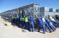 Bridge building in Namibia.