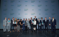 The winners and presenters of the C40 & Siemens City Climate Leadership Awards 2014 after the ceremony. The awards honored eleven city projects for their leadership in the fight against climate change