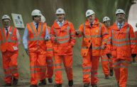 David Cameron and Boris Johnson join Crossrail chief executive Andrew Wolstenhome to celebrate the project's half way mark
