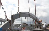 Construction of the new Pansport Bridge in Elgin to relieve river flow