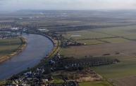 This aerial photo shows the site of the proposed Lincolnshire Lakes development near Scunthorpe, up to 6,000 homes on a raised platform in the defended floodplain of the River Trent, the proposals include reinforcement of the existing River Trent flood defence bank upon which existing local communities rely for flood protection.