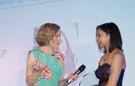 Roma Agrawal with Channel 4's Cathy Newman